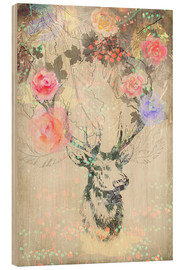 Wood print  Deer in roses - Ella Tjader