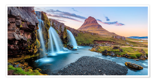 Premium poster Magical Iceland, Waterfall on Snaefellsnes