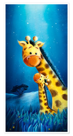 Premium poster Giraffe mother with child