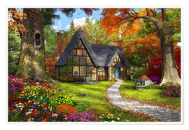 Premium poster The Little Autumn Cottage
