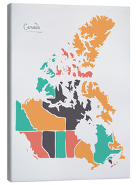 Canvas print  Canada map modern abstract with round shapes - Ingo Menhard