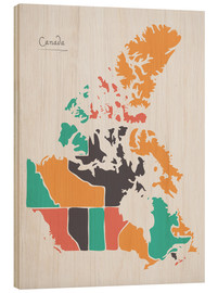 Wood print  Canada map modern abstract with round shapes - Ingo Menhard