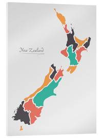 Acrylic print  New Zealand map modern abstract with round shapes - Ingo Menhard