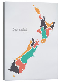 Canvas print  New Zealand map modern abstract with round shapes - Ingo Menhard