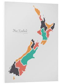 Foam board print  New Zealand map modern abstract with round shapes - Ingo Menhard