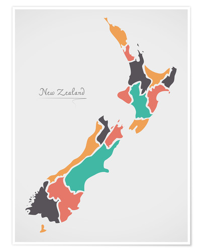 Premium poster New Zealand map modern abstract with round shapes