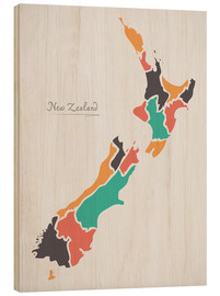 Wood  New Zealand map modern abstract with round shapes - Ingo Menhard