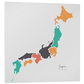 Foam board print  Japan map modern abstract with round shapes - Ingo Menhard
