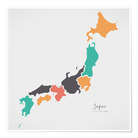 Premium poster Japan map modern abstract with round shapes