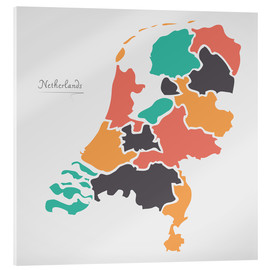 Acrylic print  Netherlands map modern abstract with round shapes - Ingo Menhard
