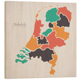 Wood print  Netherlands map modern abstract with round shapes - Ingo Menhard