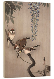 Wood print  Sparrows on wisteria - Ohara Koson