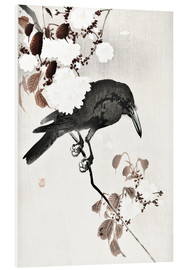 Foam board print  Crow and Cherry Blossoms - Ohara Koson
