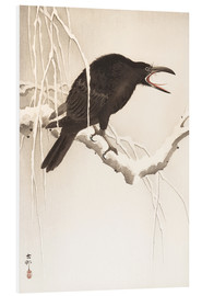 Foam board print  Blackbird in snow - Ohara Koson