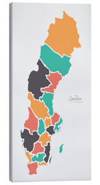 Canvas print  Sweden map modern abstract with round shapes - Ingo Menhard