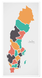Premium poster  Sweden map modern abstract with round shapes - Ingo Menhard