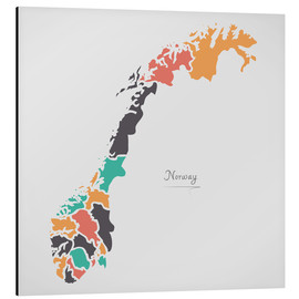 Aluminium print  Norway map modern abstract with round shapes - Ingo Menhard