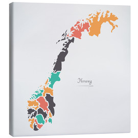 Canvas print  Norway map modern abstract with round shapes - Ingo Menhard