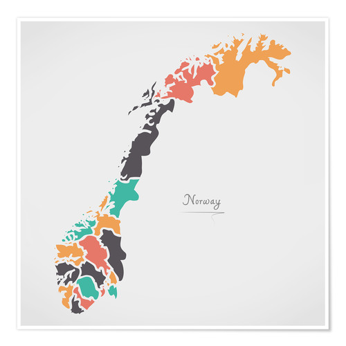 Premium poster Norway map modern abstract with round shapes