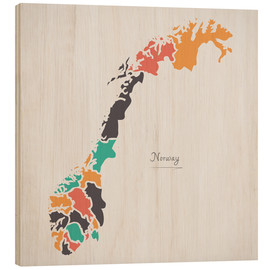 Wood print  Norway map modern abstract with round shapes - Ingo Menhard