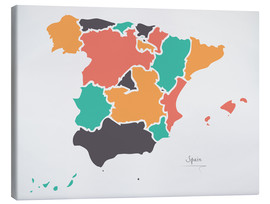 Canvas print  Spain map modern abstract with round shapes - Ingo Menhard