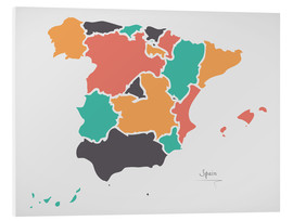 Foam board print  Spain map modern abstract with round shapes - Ingo Menhard