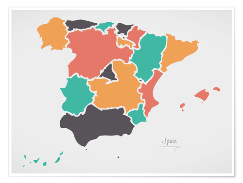 Premium poster Spain map modern abstract with round shapes