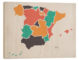 Wood print  Spain map modern abstract with round shapes - Ingo Menhard
