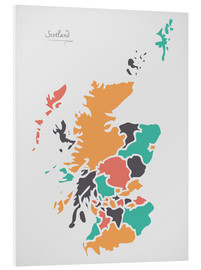 Foam board print  Scotland map modern abstract with round shapes - Ingo Menhard