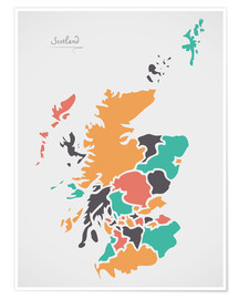 Premium poster Scotland map modern abstract with round shapes