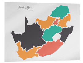 Acrylic glass  South Africa map modern abstract with round shapes - Ingo Menhard