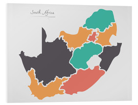 Foam board print  South Africa map modern abstract with round shapes - Ingo Menhard