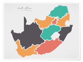 Premium poster South Africa map modern abstract with round shapes