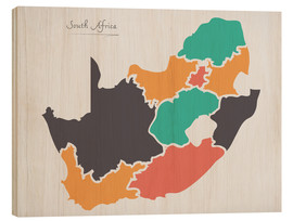 Wood print  South Africa map modern abstract with round shapes - Ingo Menhard