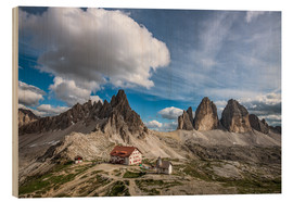 Wood print  Tre Cime Dolomite Alps South Tyrol - Achim Thomae