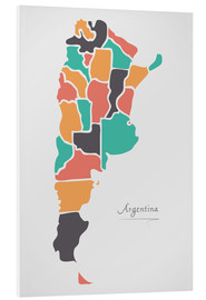 Foam board print  Argentina map modern abstract with round shapes - Ingo Menhard