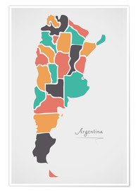 Ingo Menhard - Argentina map modern abstract with round shapes