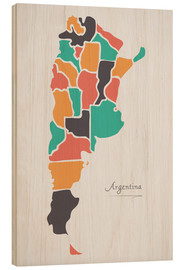 Wood  Argentina map modern abstract with round shapes - Ingo Menhard