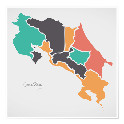 Premium poster Costa Rica map modern abstract with round shapes