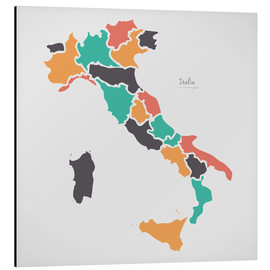 Aluminium print  Italy map modern abstract with round shapes - Ingo Menhard