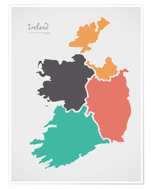Premium poster Ireland map modern abstract with round shapes