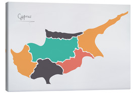 Canvas print  Cyprus map modern abstract with round shapes - Ingo Menhard