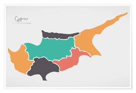 Premium poster  Cyprus map modern abstract with round shapes - Ingo Menhard