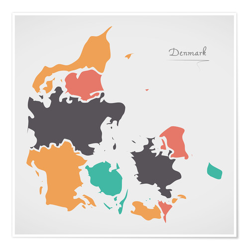 Premium poster Denmark map modern abstract with round shapes