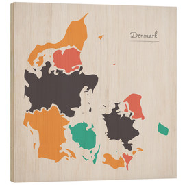 Wood print  Denmark map modern abstract with round shapes - Ingo Menhard