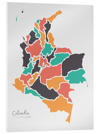 Acrylic print  Colombia map modern abstract with round shapes - Ingo Menhard