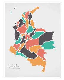 Premium poster  Colombia map modern abstract with round shapes - Ingo Menhard