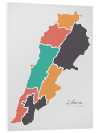 Forex  Lebanon map modern abstract with round shapes - Ingo Menhard