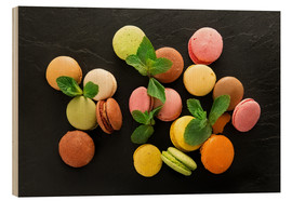 Wood print  Colorful macarons