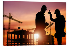 Canvas print  Meeting at the construction site